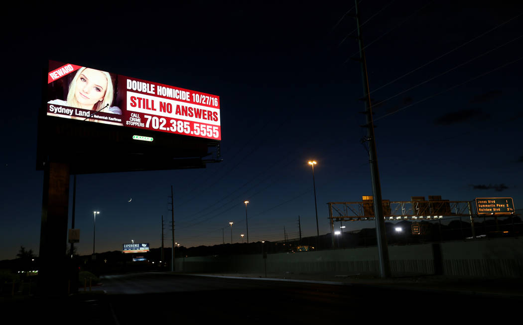 A billboard featuring homicide victim Sydney Land on U.S. Highway 95 near Valley View Boulevard in Las Vegas on Wednesday, Oct. 10, 2018. Land's family has paid for billboards throughout the Las V ...