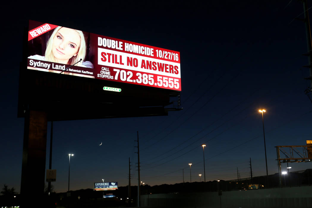 A billboard featuring murder victim Sydney Land on U.S. Highway 95 near Valley View Boulevard in Las Vegas Wednesday, Oct. 10, 2018. Land's family has paid for billboards throughout the Las Vegas ...