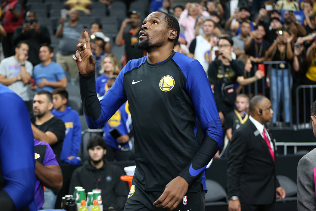 Golden State Warriors forward Kevin Durant (35) takes the court for his game against the Los Angeles Lakers in the NBA game at T-Mobile Arena in Las Vegas, Wednesday, Oct. 10, 2018. Erik Verduzco ...