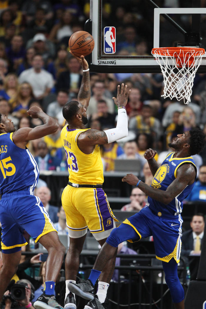 Los Angeles Lakers forward LeBron James (23) goes up for a shot against the Golden State Warriors in the NBA preseason game at T-Mobile Arena in Las Vegas, Wednesday, Oct. 10, 2018. Erik Verduzco ...