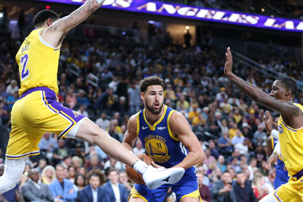 aae3657b64b Golden State Warriors guard Klay Thompson (11) looks for an open pass  against the