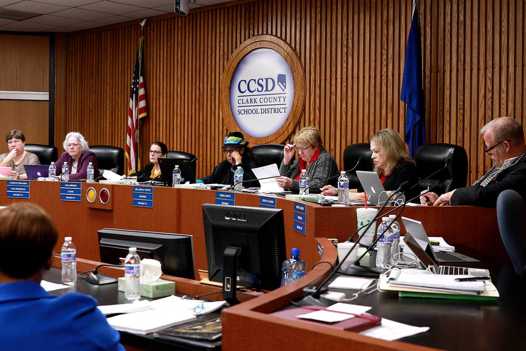 Members of the Clark County School Board discuss matters on the agenda at the Edward Greer building on Flamingo Road in Las Vegas on Thursday, Feb. 22, 2018. Andrea Cornejo Las Vegas Review-Journa ...