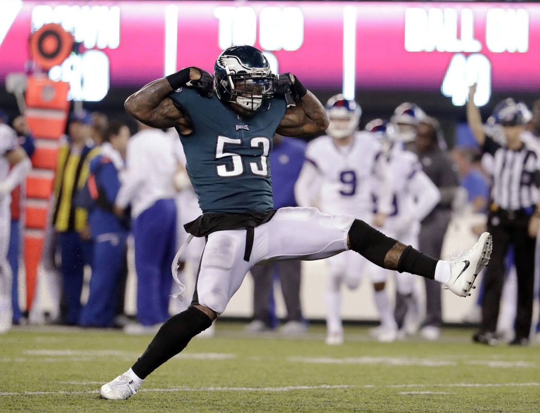 Philadelphia Eagles' Nigel Bradham (53) celebrates after sacking New York Giants quarterback Eli Manning during the second half of an NFL football game Thursday, Oct. 11, 2018, in East Rutherford, ...
