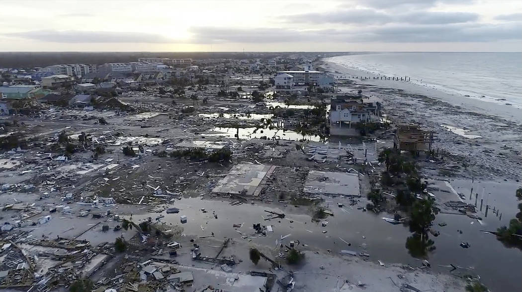 In this image made from video and provided by SevereStudios.com, damage from Hurricane Michael is seen in Mexico Beach, Fla. on Thursday, Oct. 11, 2018. Search-and-rescue teams fanned out across t ...