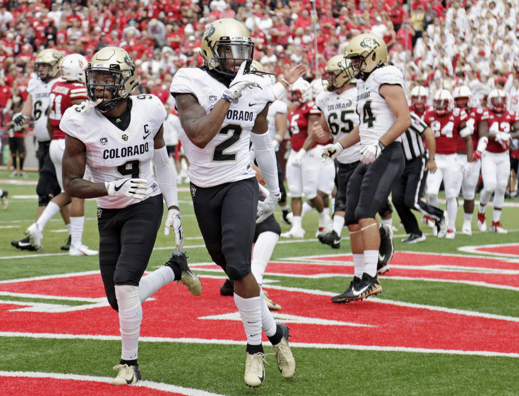 FILE - In this Sept. 8, 2018, file photo, Colorado wide receiver Laviska Shenault Jr. (2) gestures after he scored a touchdown against Nebraska during the first half of an NCAA college football ga ...