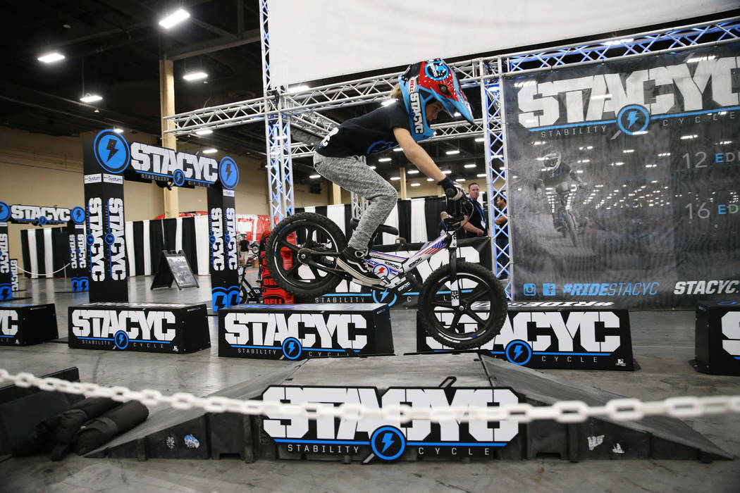 Robby Ragland, 8, rides a STACYC Stability Cycle during the American Motorcycle International Expo at the Mandalay Bay Convention Center in Las Vegas, Friday, Oct. 12, 2018. Erik Verduzco Las Vega ...