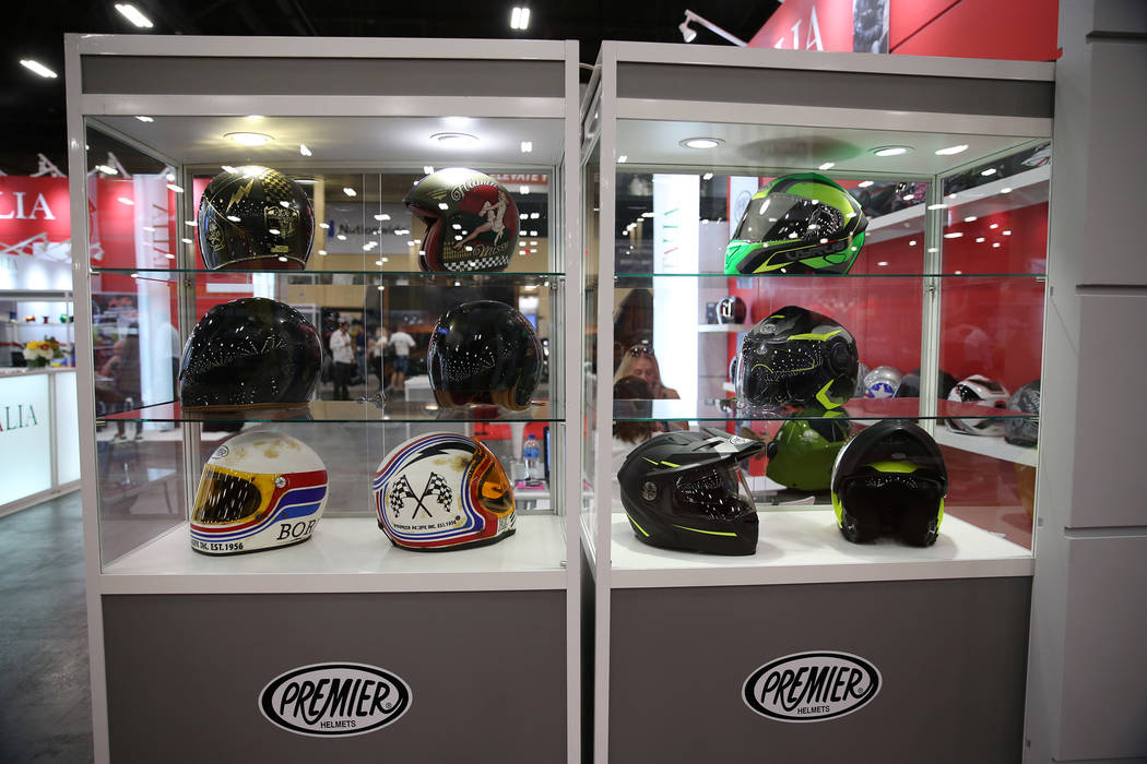 Premier Helmets on display during the American Motorcycle International Expo at the Mandalay Bay Convention Center in Las Vegas, Friday, Oct. 12, 2018. Erik Verduzco Las Vegas Review-Journal @Erik ...