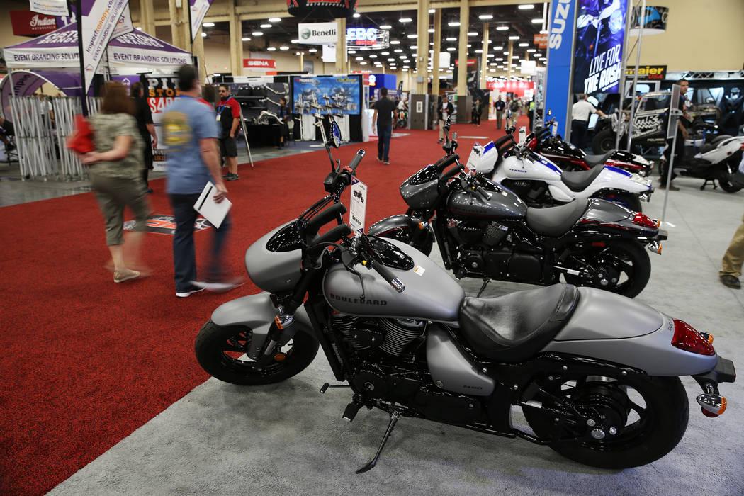 People attend the American Motorcycle International Expo at the Mandalay Bay Convention Center in Las Vegas, Friday, Oct. 12, 2018. Erik Verduzco Las Vegas Review-Journal @Erik_Verduzco