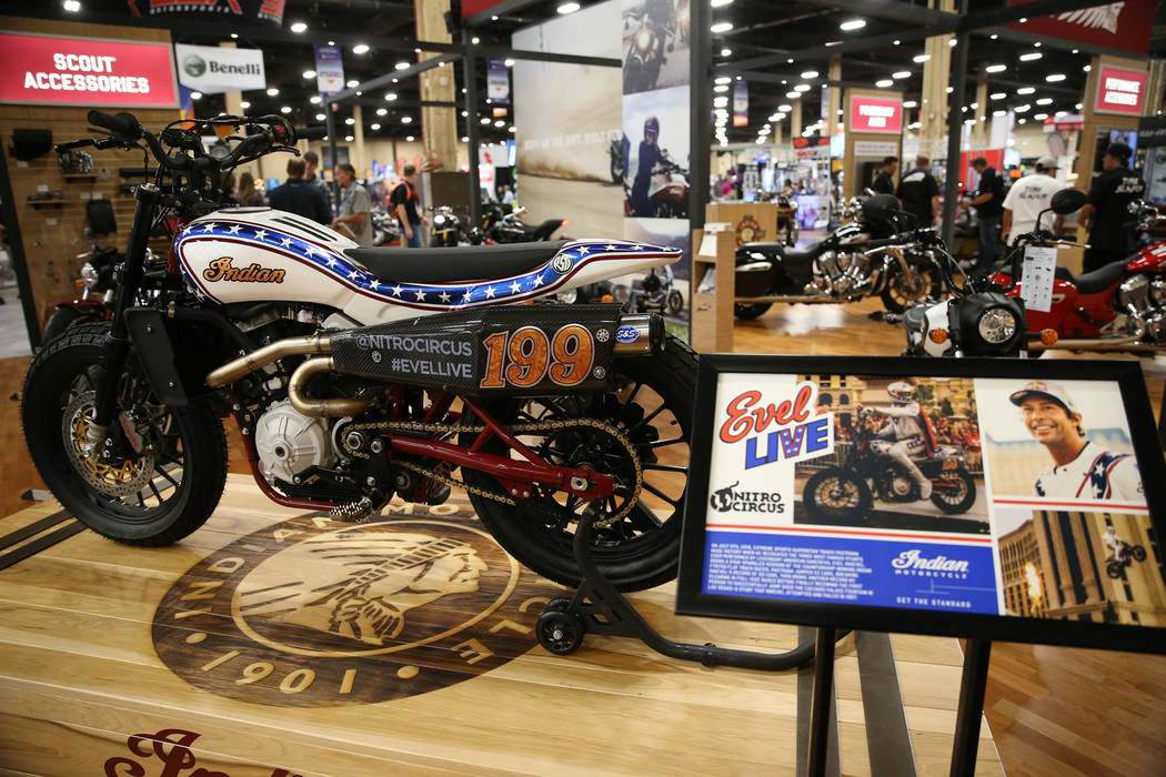 An Indian motorcycle on display during the American Motorcycle International Expo at the Mandalay Bay Convention Center in Las Vegas, Friday, Oct. 12, 2018. Erik Verduzco Las Vegas Review-Journal ...