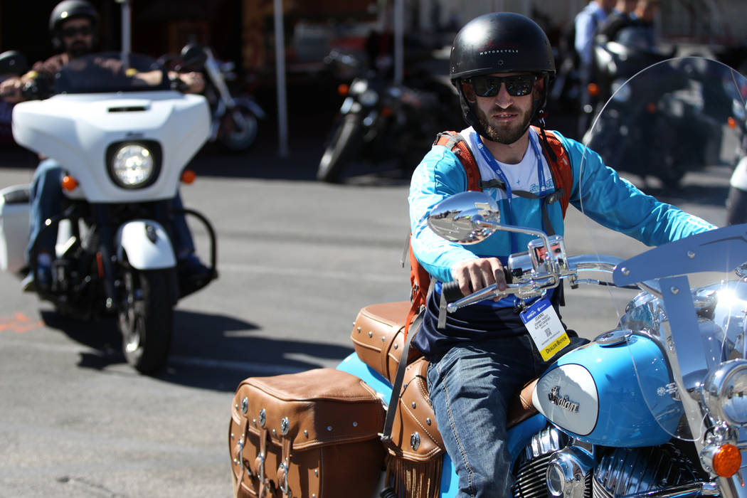 Robert Spencer of Boise, Idaho, test drives an Indian motorcycle during the American Motorcycle International Expo at the Mandalay Bay Convention Center in Las Vegas, Friday, Oct. 12, 2018. Erik V ...