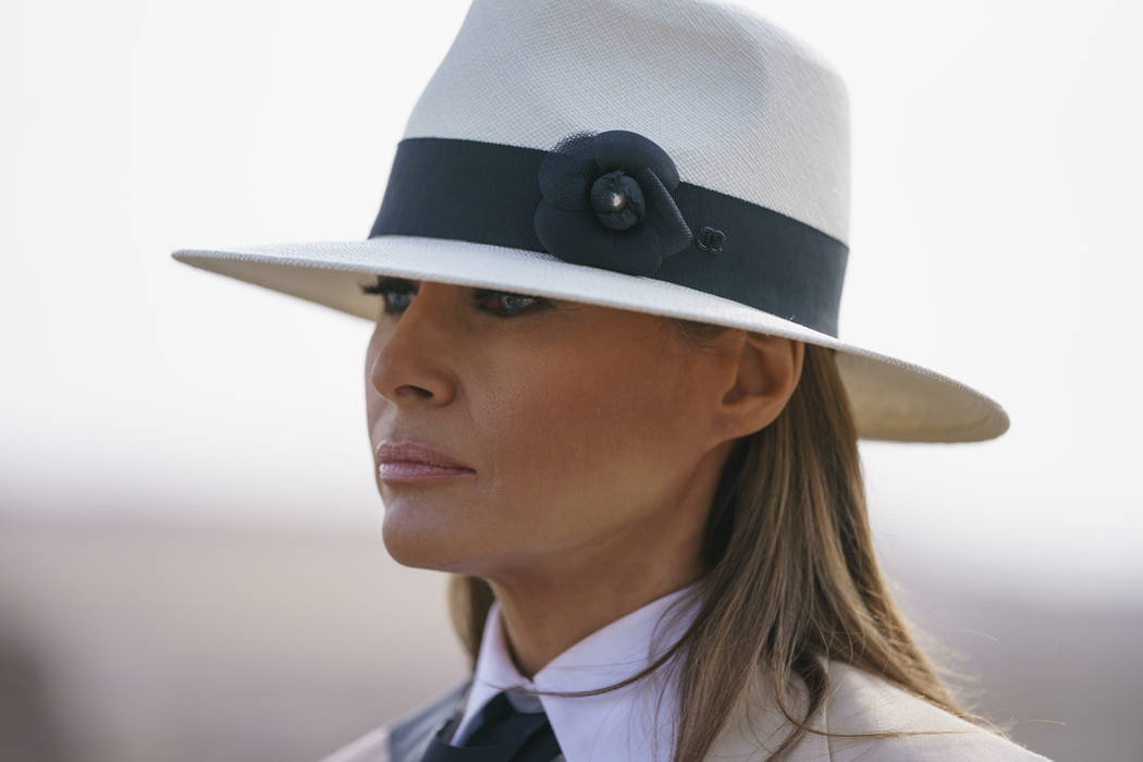 First lady Melania Trump pauses as she speaks to media during a visit to the historical Giza Pyramids site near Cairo, Egypt on Oct. 6, 2018. (AP Photo/Carolyn Kaster)