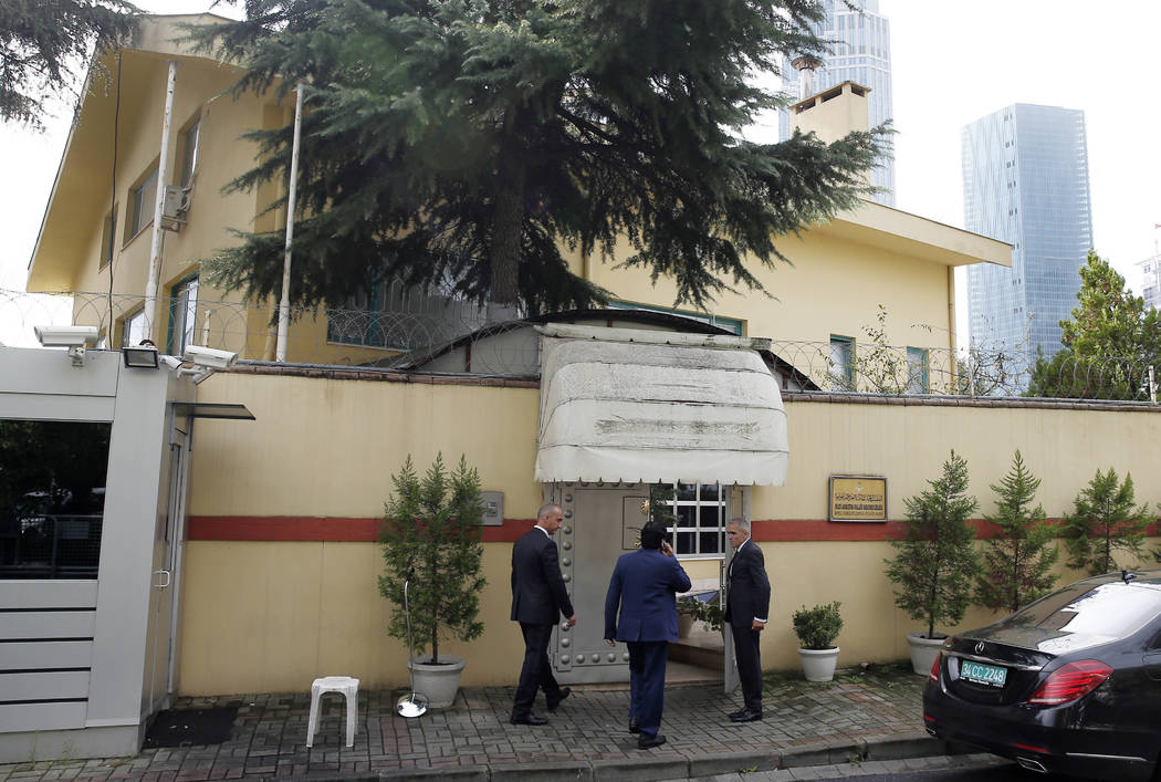 """Saudi officials enter Saudi Arabia's consulate in Istanbul, Friday, Oct. 12, 2018. A senior Turkish official says Turkey and Saudi Arabia will form a """"joint working group"""" to look into the disappe ..."""