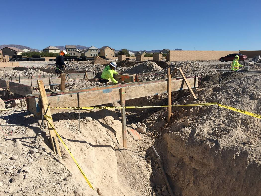 Contractors for Pulte Homes are seen working on a home site in North Las Vegas' new Sedona Ranch community on Friday, Oct. 12, 2018. (Eli Segall/Las Vegas Review-Journal)