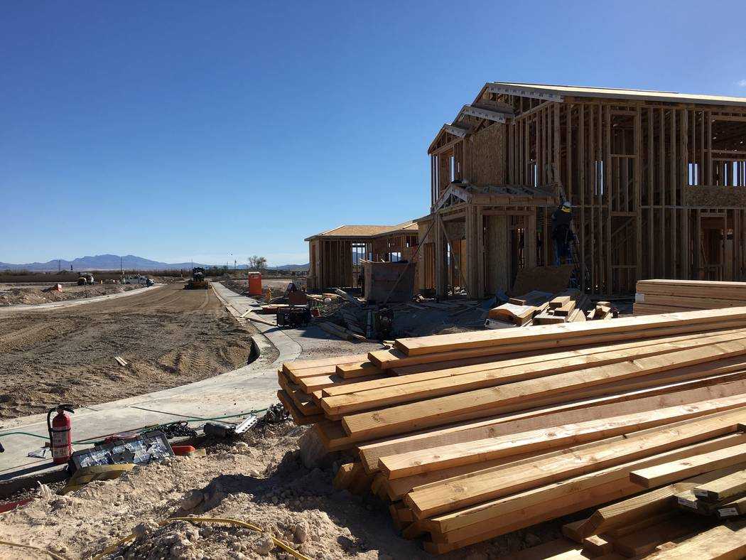 Homes under construction are seen in North Las Vegas' new Sedona Ranch community on Friday, Oct. 12, 2018. (Eli Segall/Las Vegas Review-Journal)