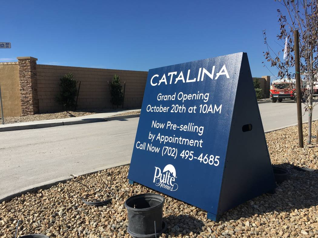 A sign for Pulte Homes' Catalina project in North Las Vegas' new Sedona Ranch community is seen Friday, Oct. 12, 2018. (Eli Segall/Las Vegas Review-Journal)