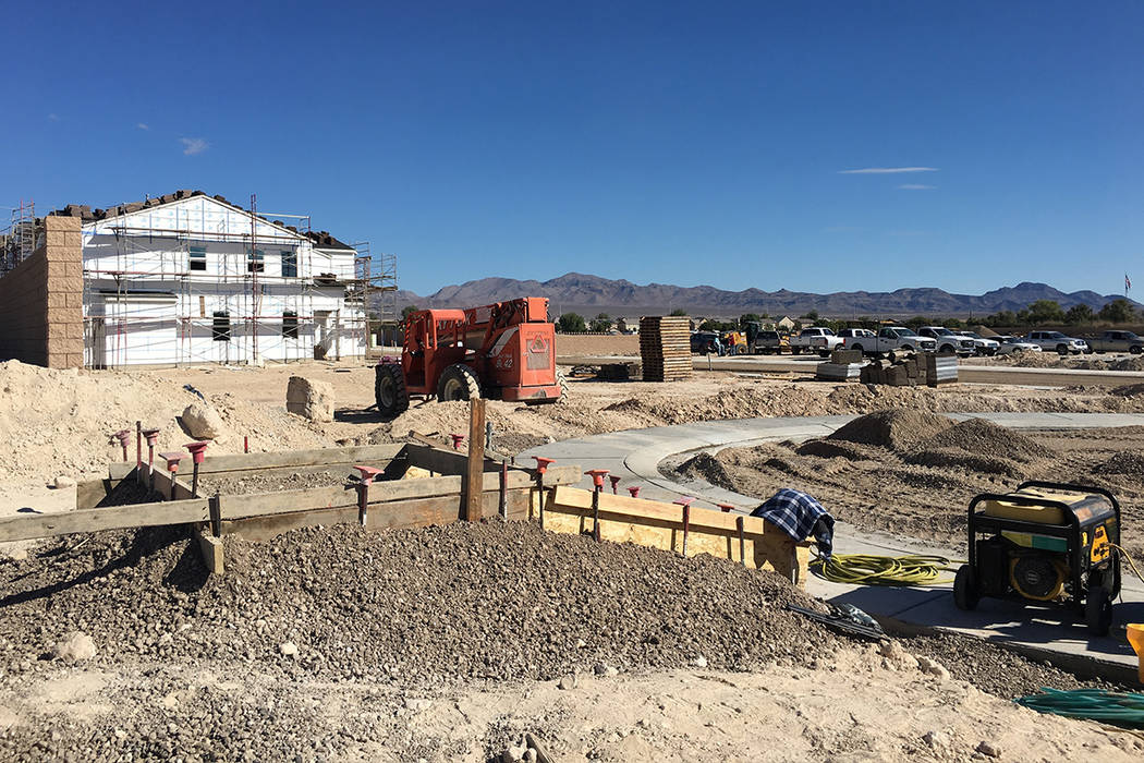 A subdivision under construction in North Las Vegas' new Sedona Ranch community is seen Friday, Oct. 12, 2018. (Eli Segall/Las Vegas Review-Journal)