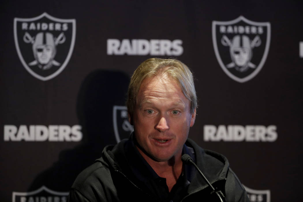 Oakland Raiders head coach Jon Gruden speaks during a press conference at the Hilton London Wembley hotel in London, Friday, Oct. 12, 2018. The Oakland Raiders arrived in Britain Friday for an NFL ...