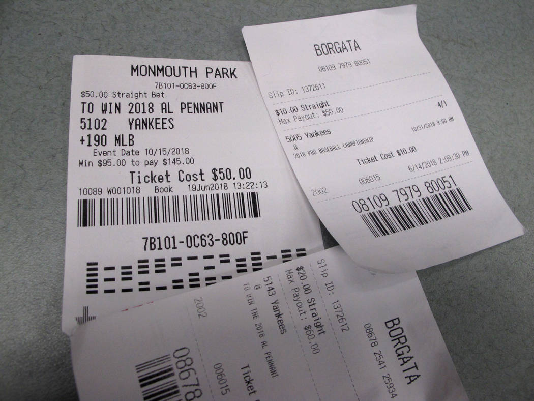 Losing betting slips in Atlantic City, N.J. that had predicted the New York Yankees to either reach the World Series or win it on Oct, 12, 2018. New Jersey gambling regulators were set to announce ...