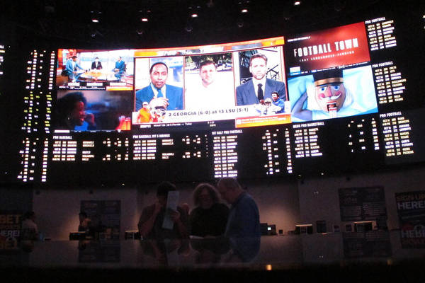 "The sports betting lounge at the Ocean Resort Casino in Atlantic City N.J., hours before New Jersey gambling regulators were set to announce figures showing a ""stunning"" increase in betting activi ..."