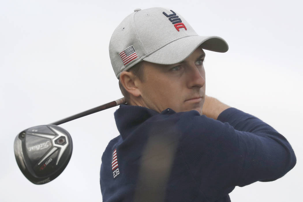 Jordan Spieth of the US watches his shot during his foursome match with Justin Thomas on the opening day of the 42nd Ryder Cup at Le Golf National in Saint-Quentin-en-Yvelines, outside Paris, Fran ...
