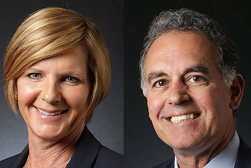 Susie Lee, candidata demócrata para el 3er distrito del Congreso, y Danny Tarkanian, candidato republicano para el mismo puesto. (Las Vegas Review-Journal)