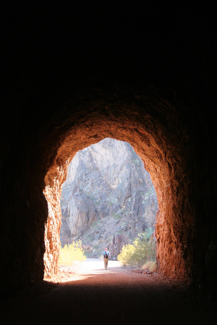 The Historic Railroad Tunnel Trail in Lake Mead NRA follows a railroad grade that once brought supplies to Hoover Dam. (Deborah Wall/Las Vegas Review-Journal)