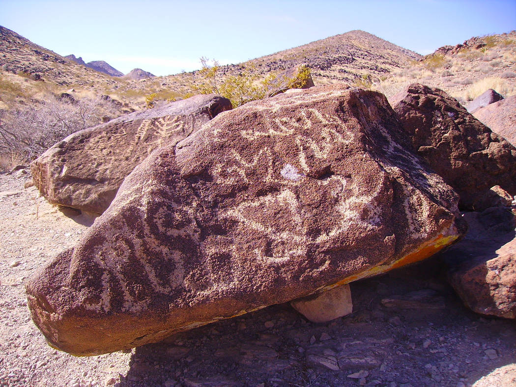 One of our finest cultural sites in Southern Nevada is the Sloan Canyon Petroglyph Site in the Sloan Canyon National Conservation Area. (Deborah Wall/Las Vegas Review-Journal)