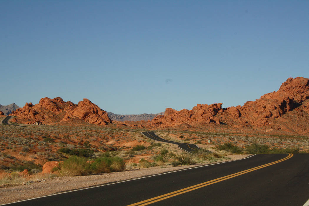 Hike the trails or just take a scenic drive in Valley of Fire State Park to see the fiery red sandstone formations. (Deborah Wall/Las Vegas Review-Journal)