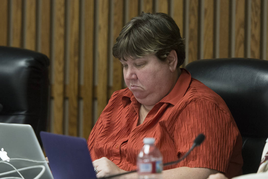 Clark County School District Board of Trustees member Deanna Wright listens during the public comment period at the CCSD board meeting to approve the district's final budget for the 2016-17 academ ...