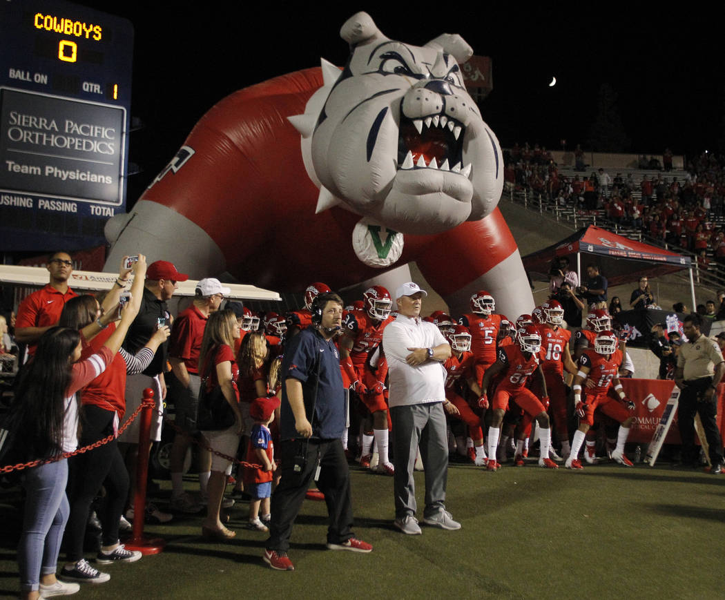 Fresno State coach Jeff Tedford waits with his team for the game to start against Wyoming during the first half of an NCAA college football game in Fresno, Calif., Saturday, Oct. 13, 2018. (AP Pho ...