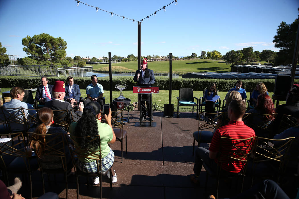 James E. Stolze, Jr., also known as Ed, imperial Officer for Shriners International, speaks during the Shriners Hospitals for Children Open media day at TPC Summerlin golf course in Las Vegas, Fri ...