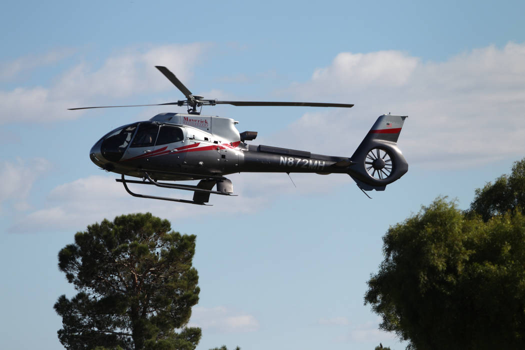 Defending champion Patrick Cantlay arrives in a helicopter to TPC Summerlin golf course for the Shriners Hospitals for Children Open media day in Las Vegas, Friday, Oct. 12, 2018. Erik Verduzco La ...