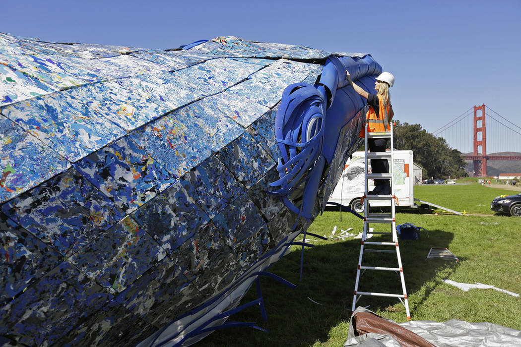 Project manager Meredith Winner looks over a blue whale art piece made from discarded single-use plastic being put together at Crissy Field Friday, Oct. 12, 2018, in San Francisco. (AP Photo/Eric ...