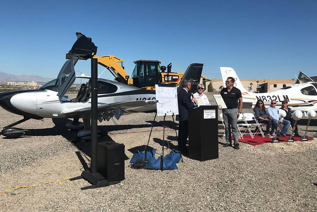 Officials speak during a ground-breaking ceremony for an expansion project at Henderson Executive Airport on Friday, Oct. 12, 2018. (Blake Apgar/Las Vegas Review-Journal)