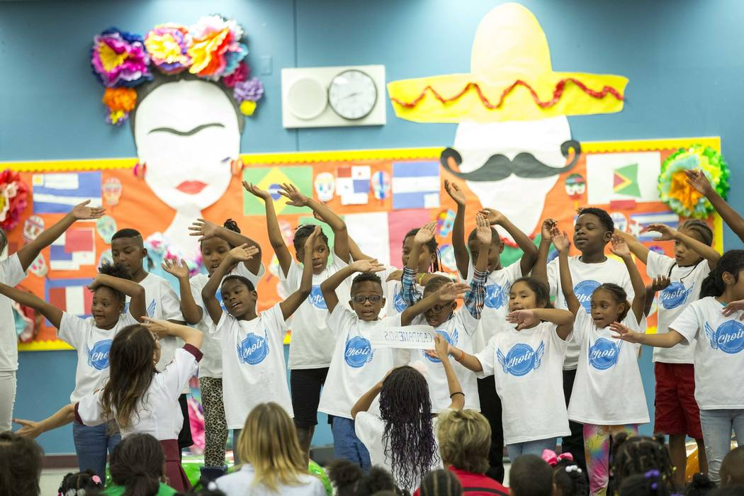 Members of the Wendell P. Williams Singing Eagles Choir perform during a Hispanic Heritage Month event at Wendell P. Williams Elementary School in Las Vegas on Friday, Oct. 12, 2018. Richard Brian ...