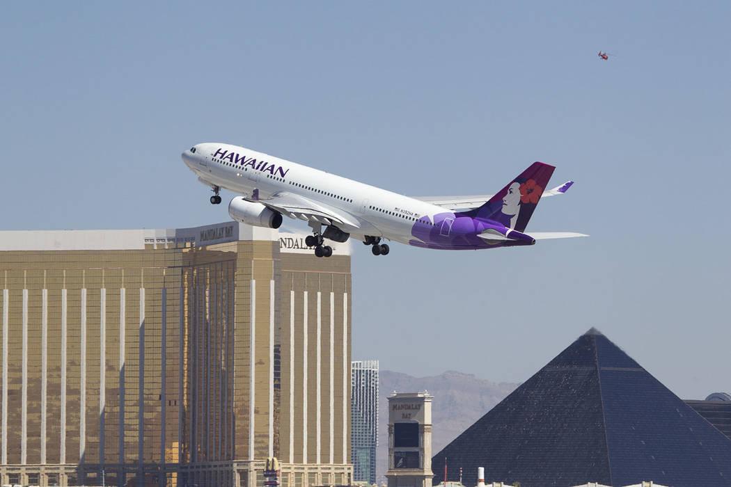 A Hawaiian Airlines jetliner departs from McCarran International Airport in Las Vegas on Wednesday, June 28, 2017. Richard Brian Las Vegas Review-Journal @vegasphotograph