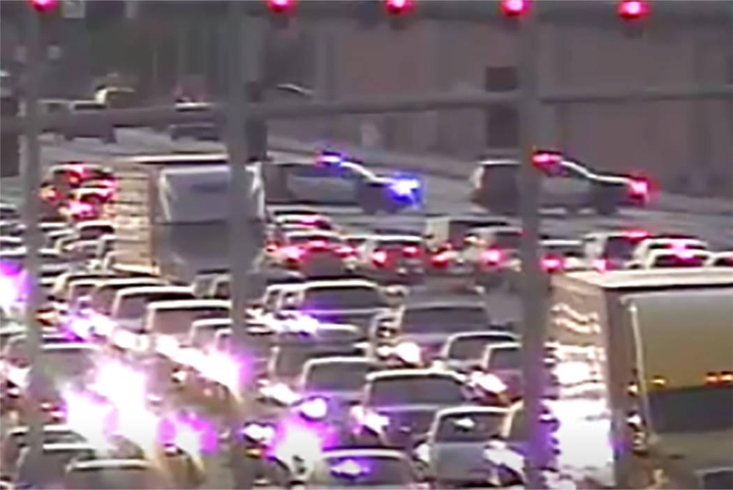 Heavy traffic is seen on Blue Diamond Road after a fatal traffic crash Friday, Oct. 12, 2018, in Las Vegas. (RTC traffic cameras)