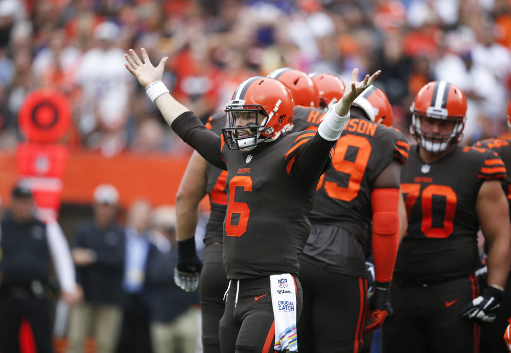Cleveland Browns quarterback Baker Mayfield reacts during the first half of an NFL football game against the Baltimore Ravens, Sunday, Oct. 7, 2018, in Cleveland. (AP Photo/Ron Schwane)