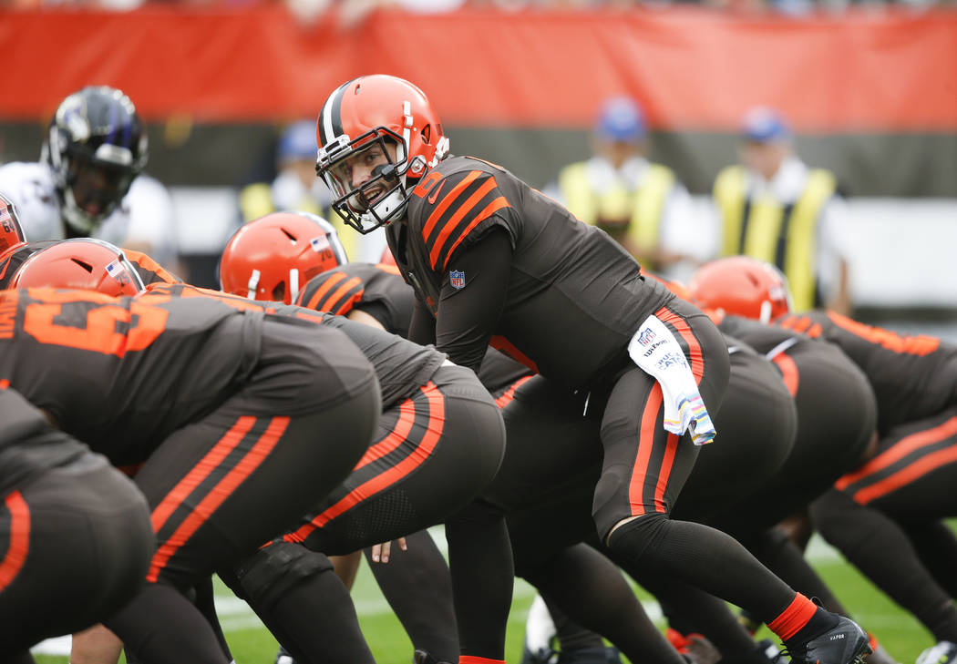 Cleveland Browns quarterback Baker Mayfield (6) plays against the Baltimore Ravens during the first half of an NFL football game, Sunday, Oct. 7, 2018, in Cleveland. (AP Photo/Ron Schwane)