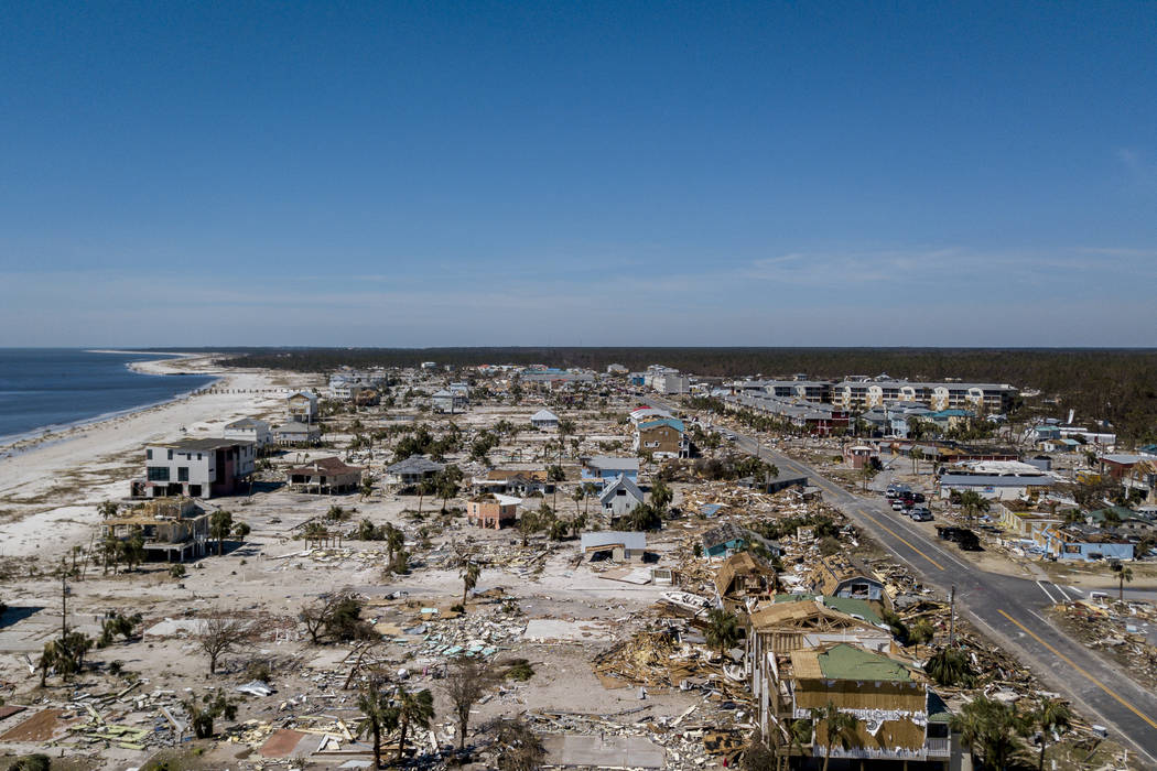 This aerial photo shows debris and destruction in Mexico Beach, Fla., Friday, Oct. 12, 2018, after Hurricane Michael went through the area on Wednesday. Mexico Beach, the ground-zero town, was nea ...