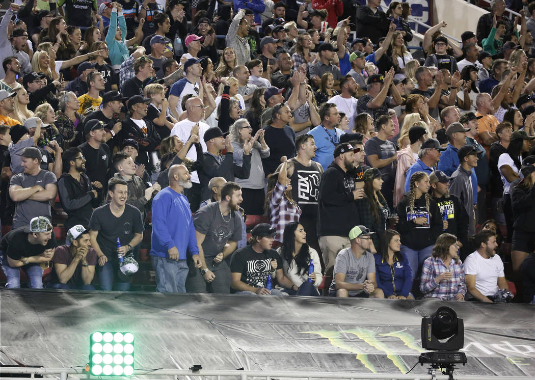 Fans watch the 2018 Monster Energy Cup Race at Sam Boyd Stadium on Saturday, Oct. 13 , 2018, in Las Vegas. Bizuayehu Tesfaye/Las Vegas Review-Journal @bizutesfaye