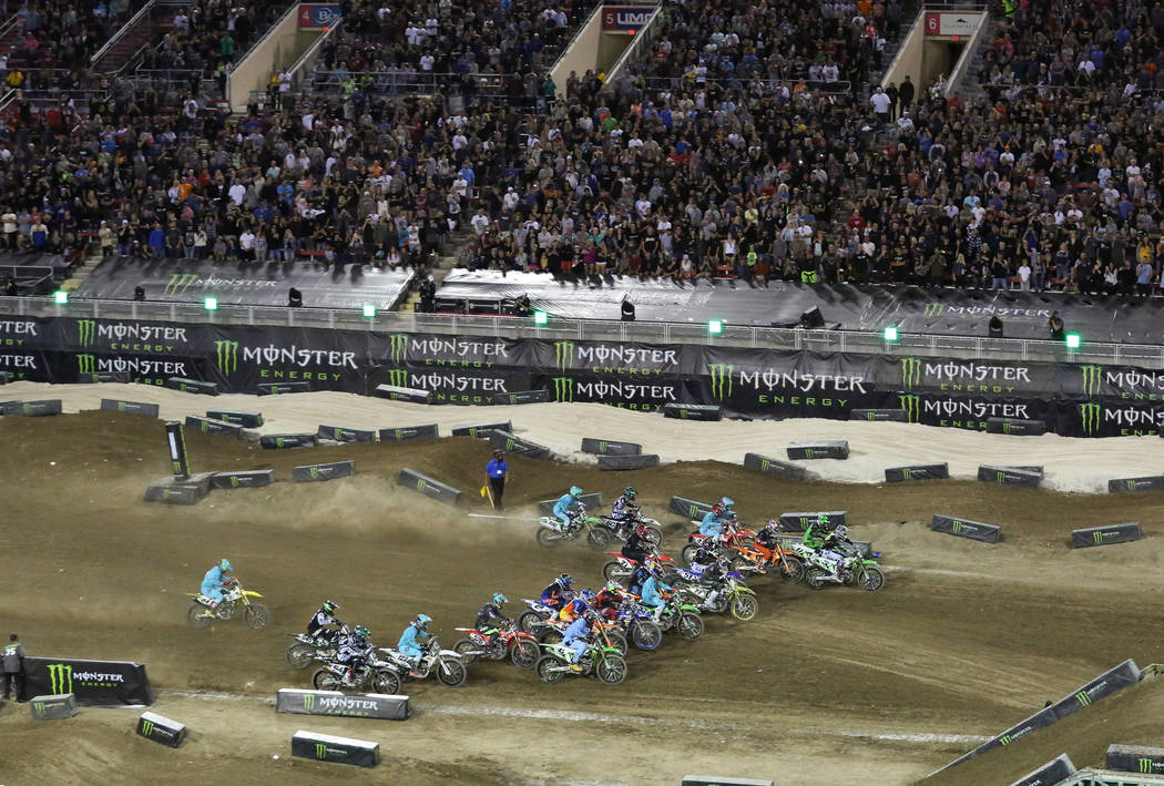 Riders compete during the 2018 Energy Cup Race at Sam Boyd Stadium on Saturday, Oct. 13 , 2018, in Las Vegas. Bizuayehu Tesfaye/Las Vegas Review-Journal @bizutesfaye