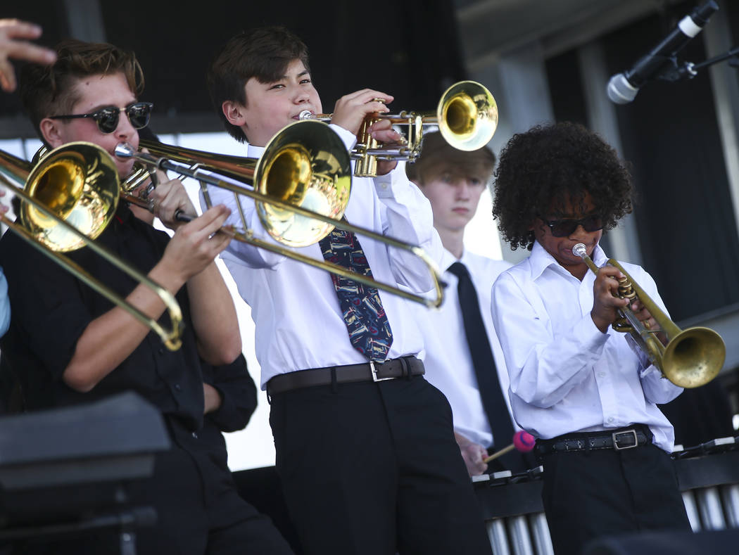 Members of the jazz ensemble of the Nevada School of the Arts perform during the 23rd annual Summerlin Festival of Arts at Downtown Summerlin in Las Vegas on Saturday, Oct. 13, 2018. Chase Stevens ...
