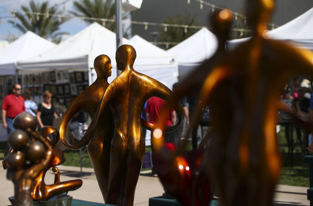 Sculptures by Bob and Jo Wilfong of Henderson on display during the 23rd annual Summerlin Festival of Arts at Downtown Summerlin in Las Vegas on Saturday, Oct. 13, 2018. Chase Stevens Las Vegas Re ...