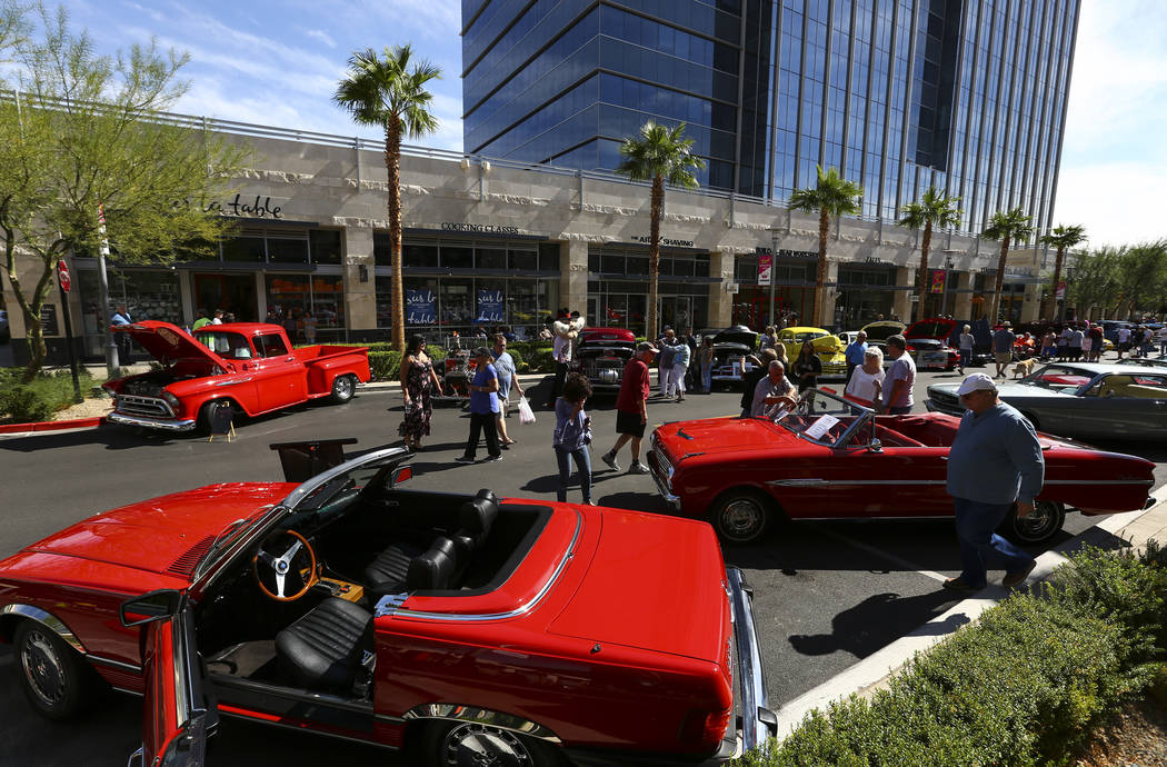 Vintage cars line the road during the 23rd annual Summerlin Festival of Arts at Downtown Summerlin in Las Vegas on Saturday, Oct. 13, 2018. Chase Stevens Las Vegas Review-Journal @csstevensphoto