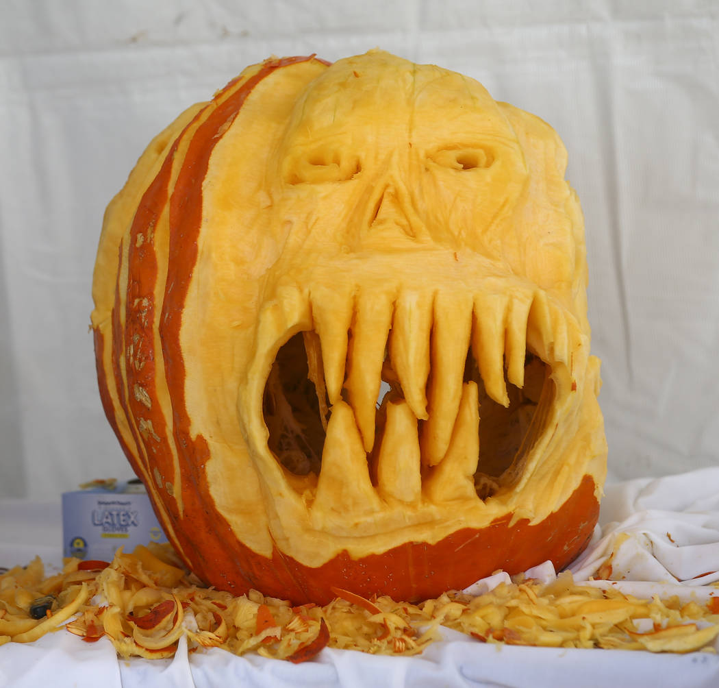 A carved pumpkin during the 23rd annual Summerlin Festival of Arts at Downtown Summerlin in Las Vegas on Saturday, Oct. 13, 2018. Chase Stevens Las Vegas Review-Journal @csstevensphoto