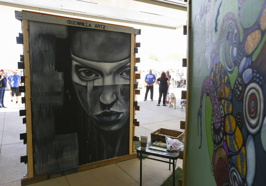 Art on display by Guerrilla Artz during the 23rd annual Summerlin Festival of Arts at Downtown Summerlin in Las Vegas on Saturday, Oct. 13, 2018. Chase Stevens Las Vegas Review-Journal @csstevensphoto