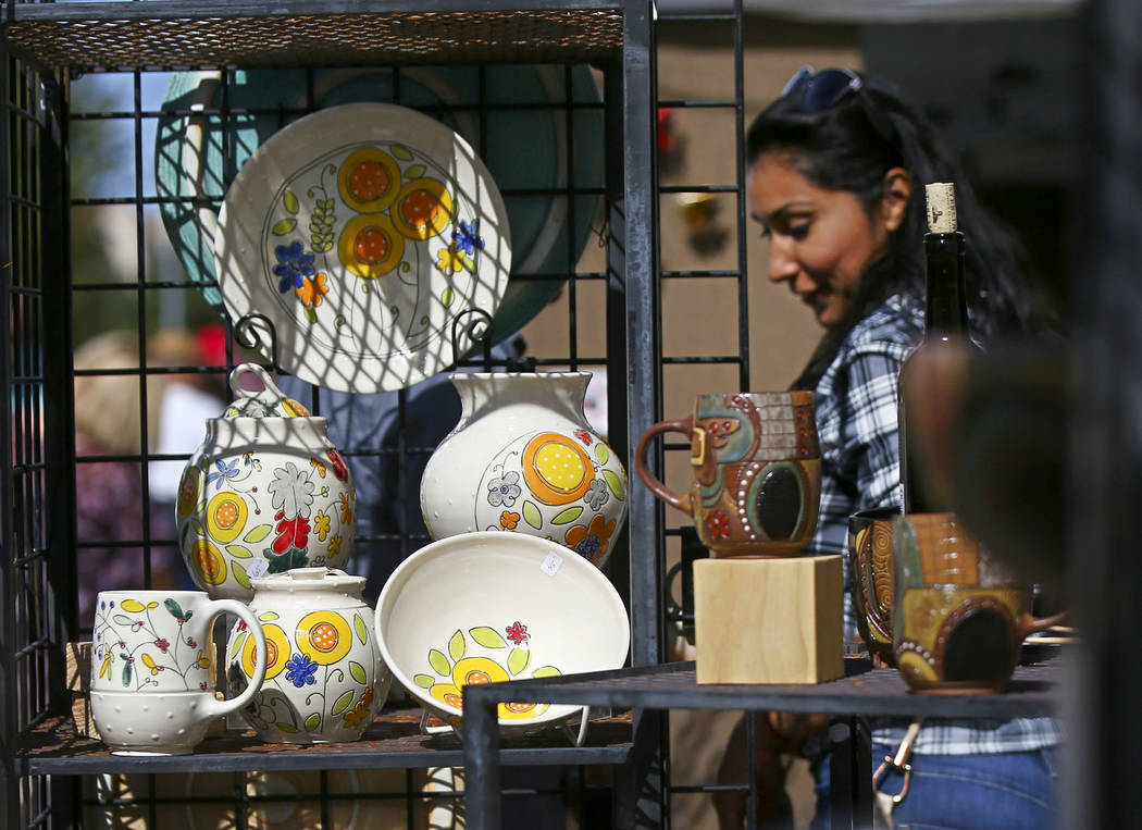 Pottery on display by artists Sandy Smith and Derek Mulliner during the 23rd annual Summerlin Festival of Arts at Downtown Summerlin in Las Vegas on Saturday, Oct. 13, 2018. Chase Stevens Las Vega ...