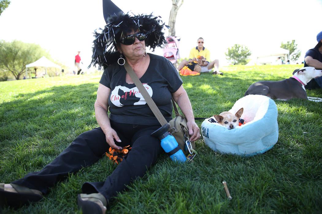 Anne Ross of Las Vegas with her dog Nugget attend the Family, Fur & Fun Festival at Exploration Park in Las Vegas, Saturday, Oct. 13, 2018. Erik Verduzco Las Vegas Review-Journal @Erik_Verduzco