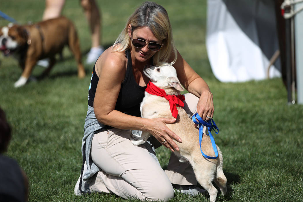 Christy Stevens, president for Hearts Alive Village, with Tonic, a terrier-mix dog up for adoption, during the Family, Fur & Fun Festival at Exploration Park in Las Vegas, Saturday, Oct. 13, 2 ...